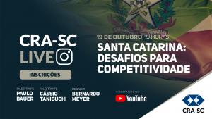 """CRA-SC promove Webinar """"Santa Catarina: Desafios para a Competitividade"""""""